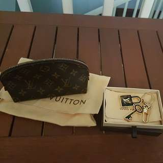 Authentic lv pouch beg and key chain