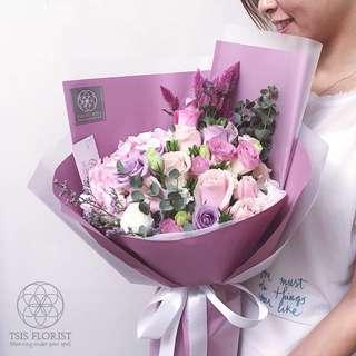 歐式,粉紅鮮花束