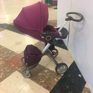 Negotiable Stokke Xplory V3 Royal Purple Stroller. Suitable from Newborn to 25kg. Baby Padding included. Parents facing.