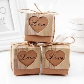 50pcs Heart Candy Box Vintage Wedding Gifts For Guests Kraft Boxes With Rustic Burlap Twine Decoration Wedding Favors