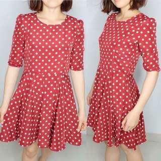 Mini dress polkadot red