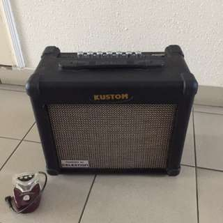 Kustom arrow 16R guitar reverb amp with hash browns flanger