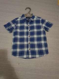 Short Sleeve Checkered Blue Linen