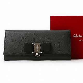 🆑Last One CLEARANCE  ! Authentic Salvatore Ferragamo (Salvatore Ferragamo) wallet MISS VARA BOW CLIP 22B559-NERO black wallet 22B559 MISSVARABOWCLIP