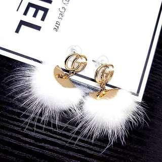 new mink hair ring ball earrings female