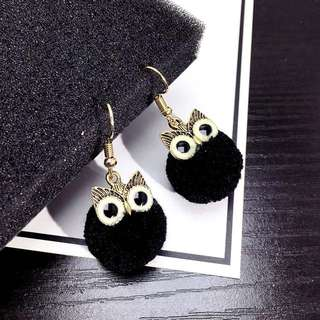 new mink hair ring ball earrings female Mini order:2pieces