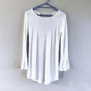 ASOS Lira Bell Sleeve Dress - Cream
