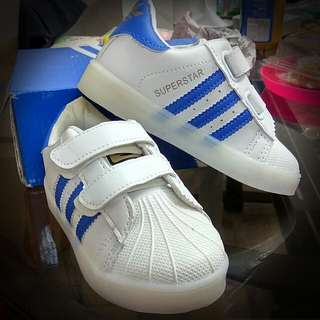 Superstar white blue stripes shoes