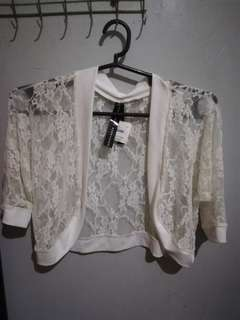White Laced Cropped Cardigan