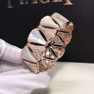 Bvlgari 寶格麗DIVA白貝殼鑽石手鐲