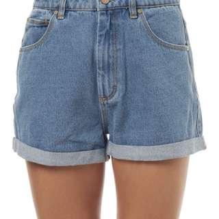 A Brand high waisted denim shorts