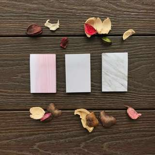 rectangular marble/ granite/ pink tiles post its