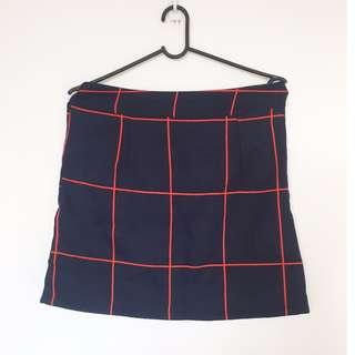 Checkered bandage skirt with zip