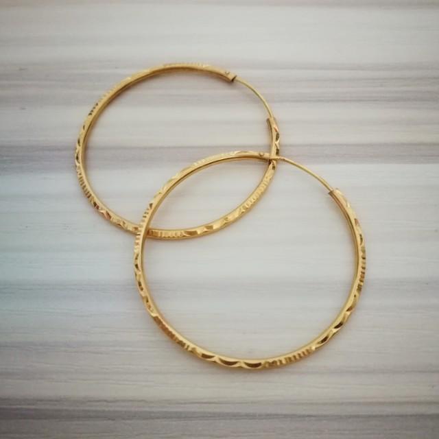 18k Bangkok Gold Hoop Earrings