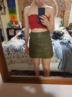 Khaki leather skirt