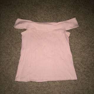 Pale Pink Off-Shoulder Ribbed Top