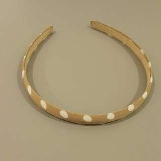 Brown polka dot headband