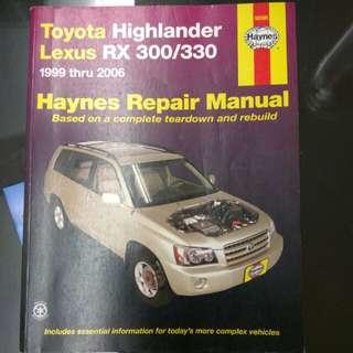 Toyota Lexus RX 300/330 Haybes Repair Manual 1999 thru 2006