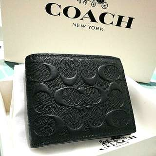 COACH Double Billfold Wallet in Signature Crossgrain Leather Mahogany 75371 Charcoal Black MENS