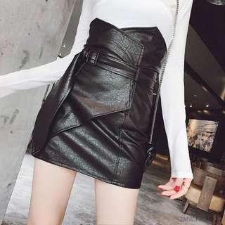High Waist Hip Wrap Leather A-line Mini Skirt
