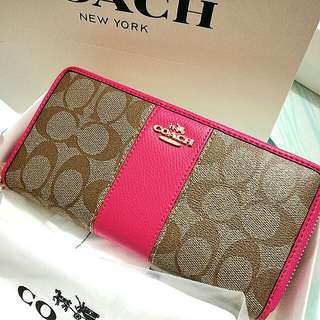 Coach 52859 Signature Leather Accordion Zip Around Wallet Rose Red
