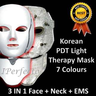 3 In 1 Korean LED Therapy Mask Face + Neck + EMS