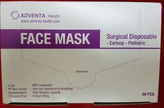 Adventa Disposable Face Mask for Kids (Pink)