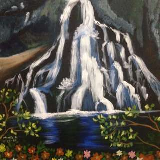 Waterfall and Flowers Acrylic Painting