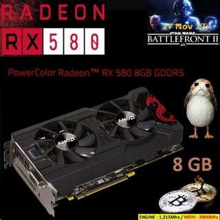 POWERCOLOR RX 580 8GB GDDR5 MINING EDITION (WHITE BOX) AXRX 580 8GBD5-DM...1 YEAR WARRANTY.