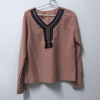 Pink bohemian blouse