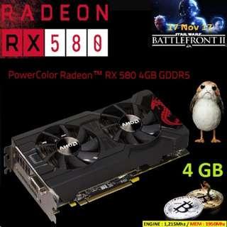 POWERCOLOR RX 580 4GB GDDR5 MINING EDITION (WHITE BOX) ...AXRX 580 4GBD5-DMV2....1 Year Warranty.