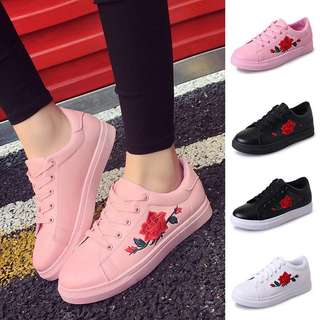【Ready Stock】New Fashion Women Leather Sneakers Sport Breathable Casual Running Shoes Size 37