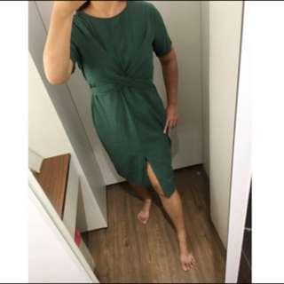 啾💋《現貨》前開衩 後交叉綁帶 造型修身 洋裝「特價 清倉價」