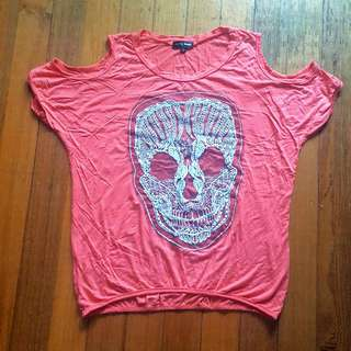 Cold Shoulder Orange Skull T Shirt