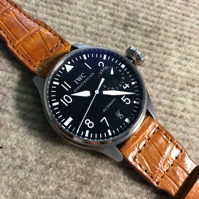 168d1be74 22/18mm Genuine Handmade Tan Alligator Strap for IWC Big Pilot, Luxury,  Watches on Carousell