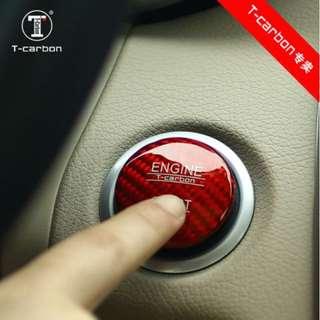 T-Carbon® Real Carbon Fibre Mercedes Benz Keyless-Go Push  Start Button Cover 34mm  for  most Mercedes Benz