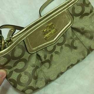 Coach clutch purse metallic gold with coach logo