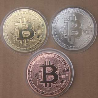 [3 Colours] Bitcoin BTC Coins - Gold/ Sliver/ Copper Plated Souvenir Metal Craft Medal