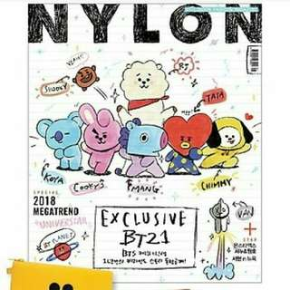 NYLON MAGAZINE ISSUE + free Special gift LINE FRIEND POUCH