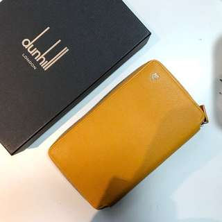 Dunhill wallet large zip clutch 黃色長形銀包