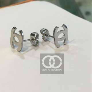 Chanel - 18k Real White Gold plated Earring Studs