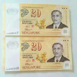 UNC Singapore Polymer Note $20 banknotes, 2 runs.
