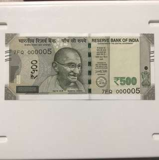 Year end clearance!! Unc Lower no 5. Indian new 500 Rupees Note