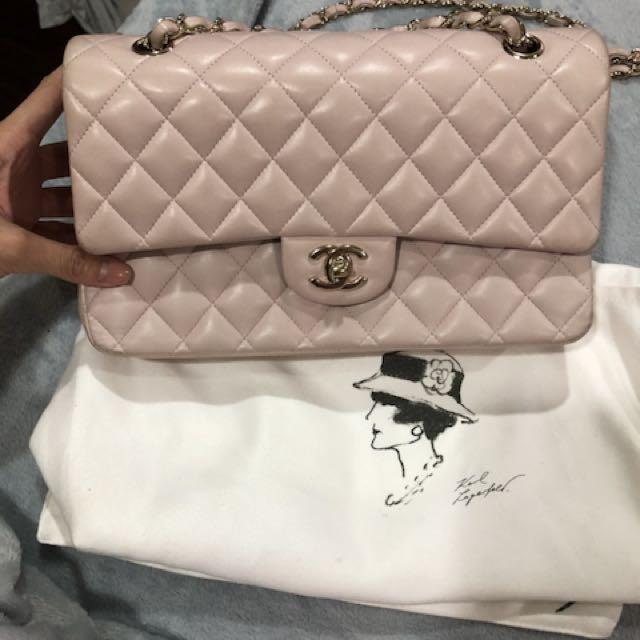 85成新 粉藕色 Chanel coco 25公分 雙蓋 全配 無盒