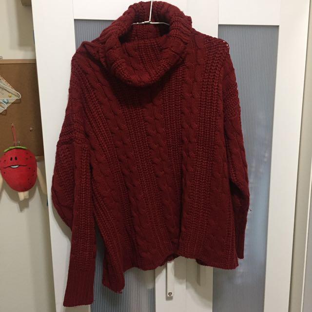 紅色針織高領毛衣
