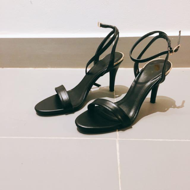歐美款一字細帶高跟鞋高跟涼鞋
