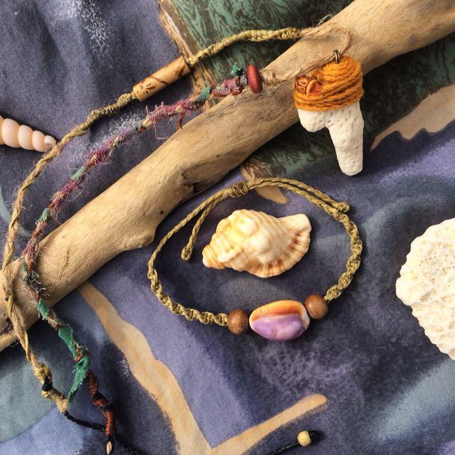 手工南美蠟繩麻繩珊瑚項鍊/貝殼手環