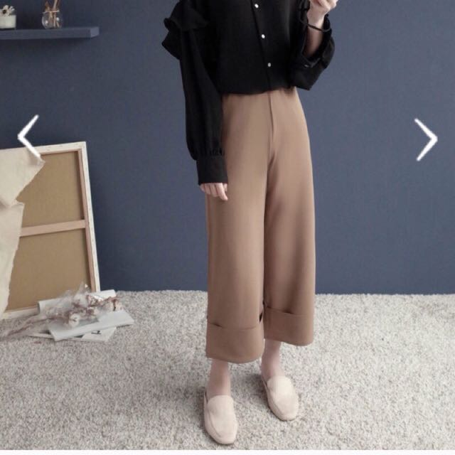 挺版厚雪紡反折寬褲