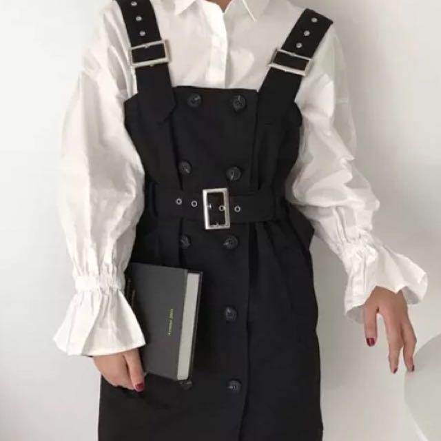 全新 韓版排釦吊帶裙