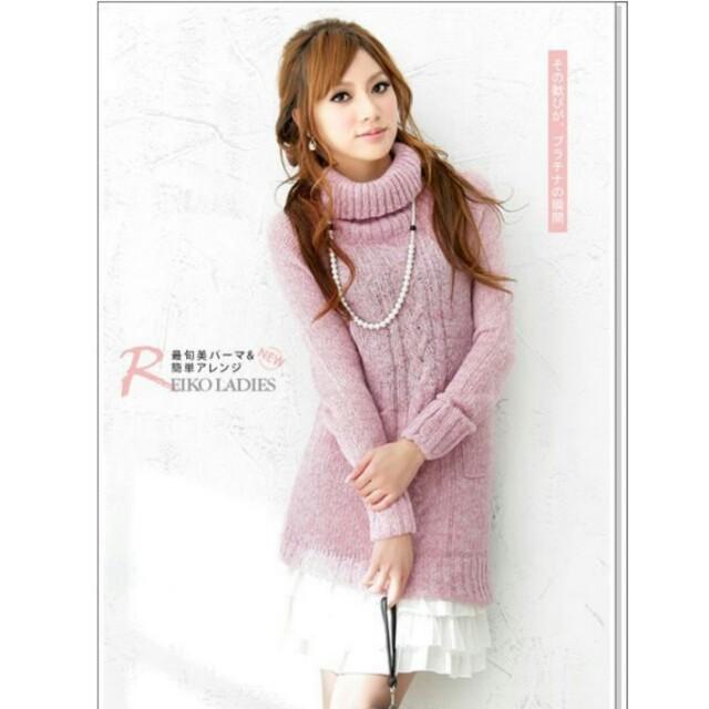 【品牌】翻領麻花長版毛衣洋裝 (梅粉/寶藍)